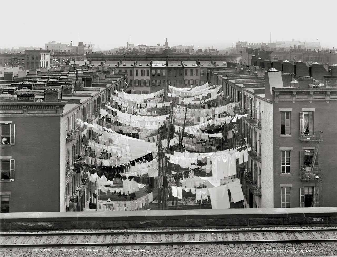 Laundry on clotheslines