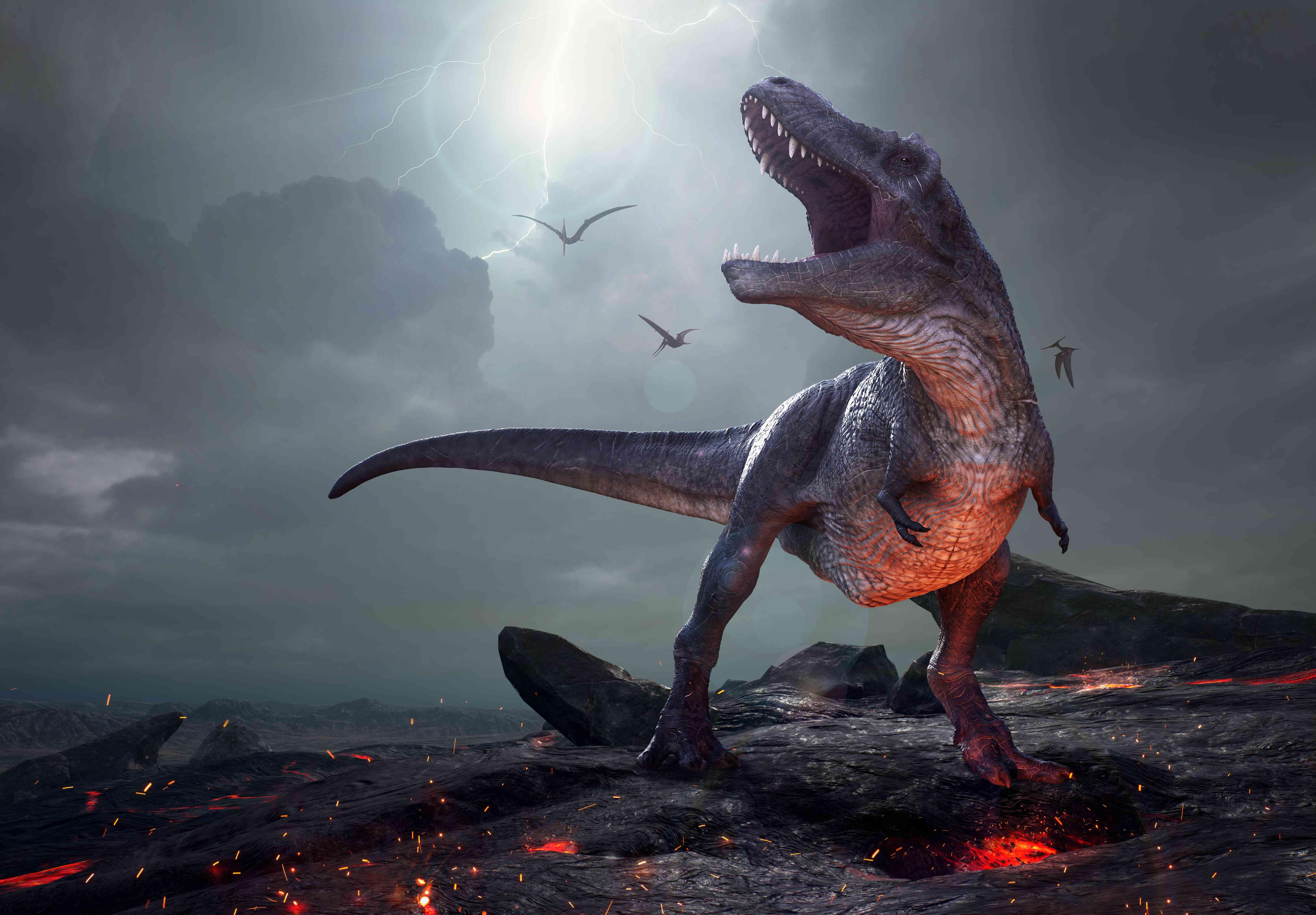An illustration of a T. rex during the Cretaceous extinction