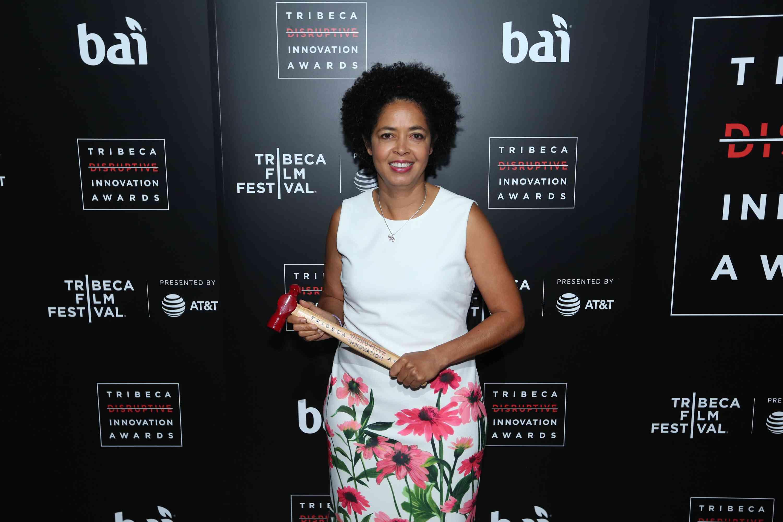 Paula Kahumbu with award at 2017 Tribeca Film Festival