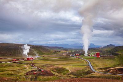 Krafla geothermal power plant aerial view Northeastern Iceland Scandinavia
