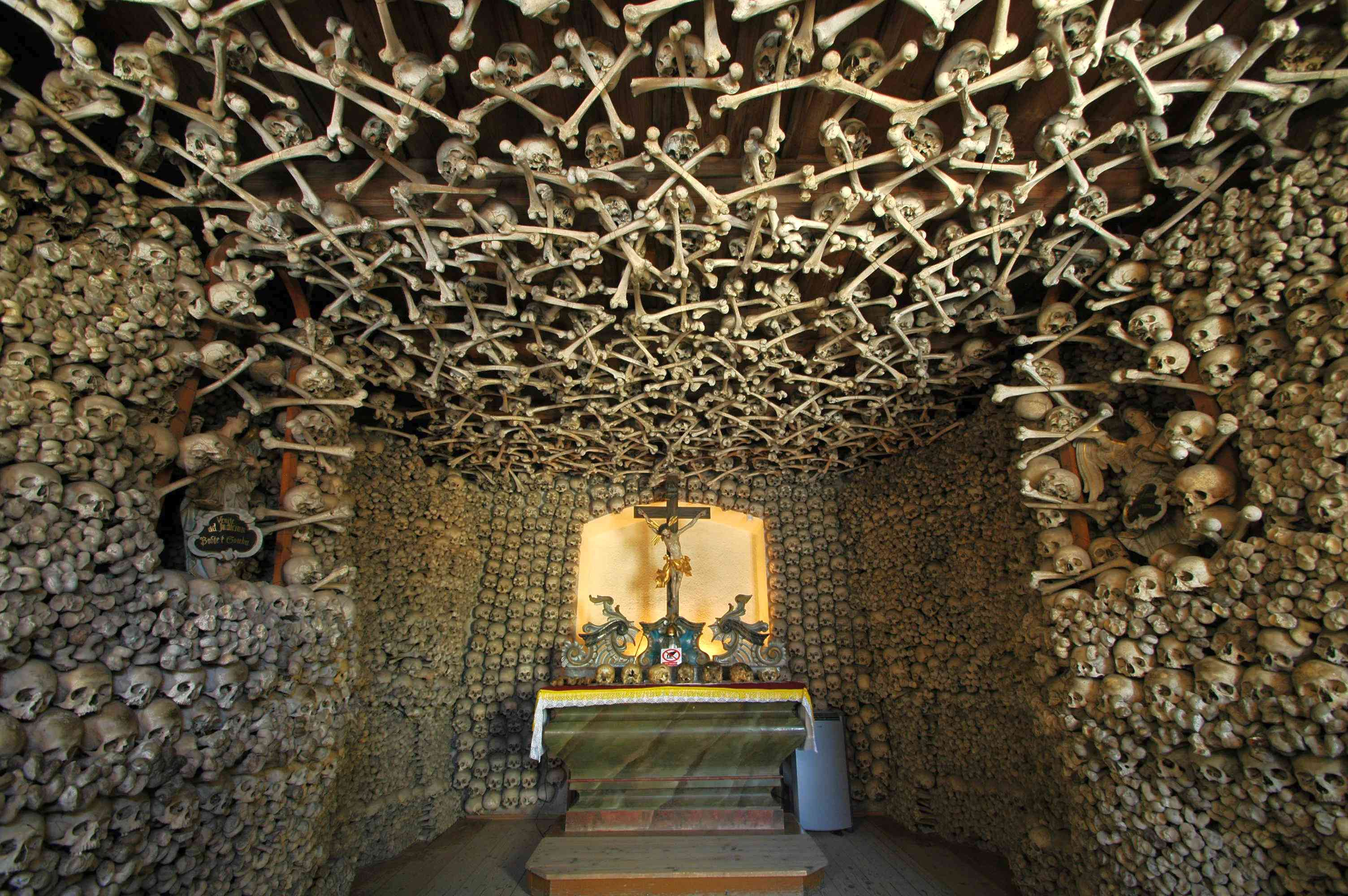Skulls and crossbones form the wall and ceiling of the Chapel of Skulls