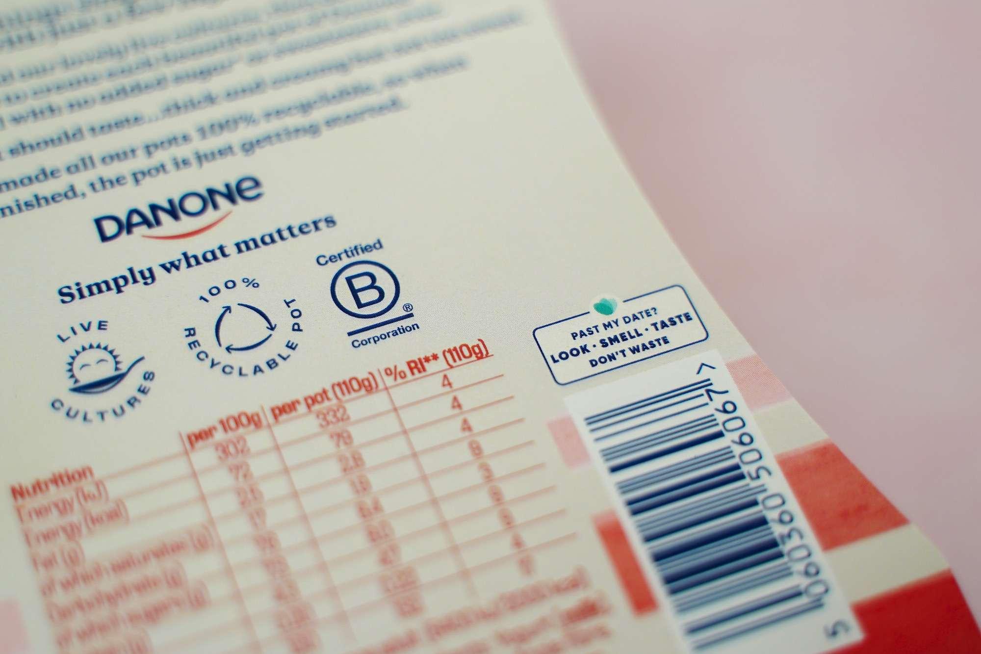 Danone yogurt label