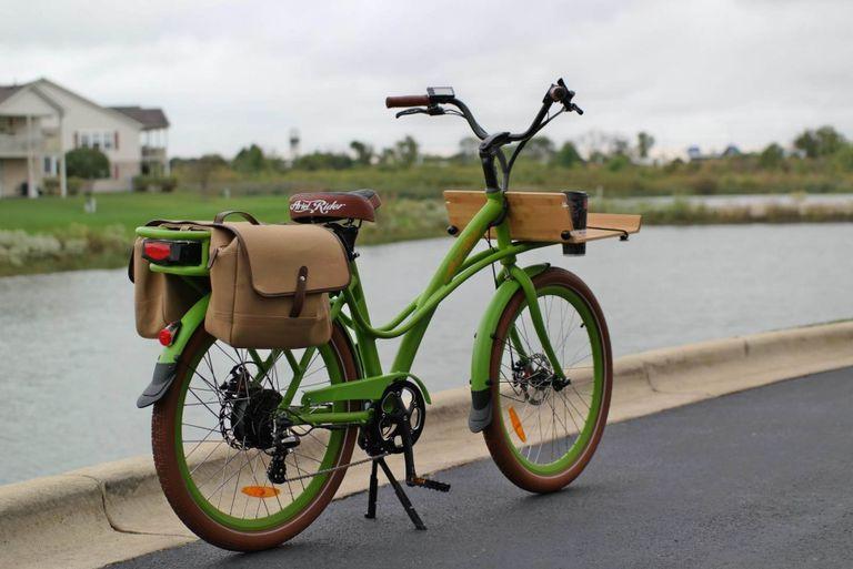 Front bicycle basket rear basket for bike City Bike in Green