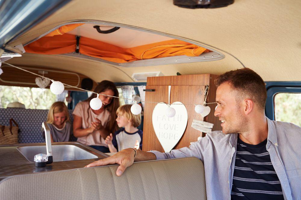Family in their camper van