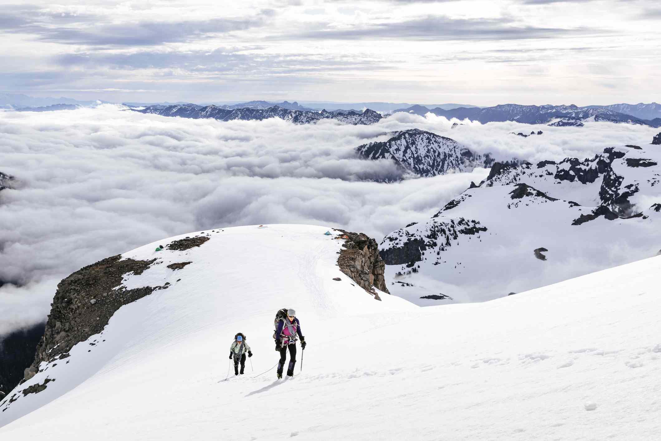 Climbers ascending snowy mountain in Mount Rainier National Park