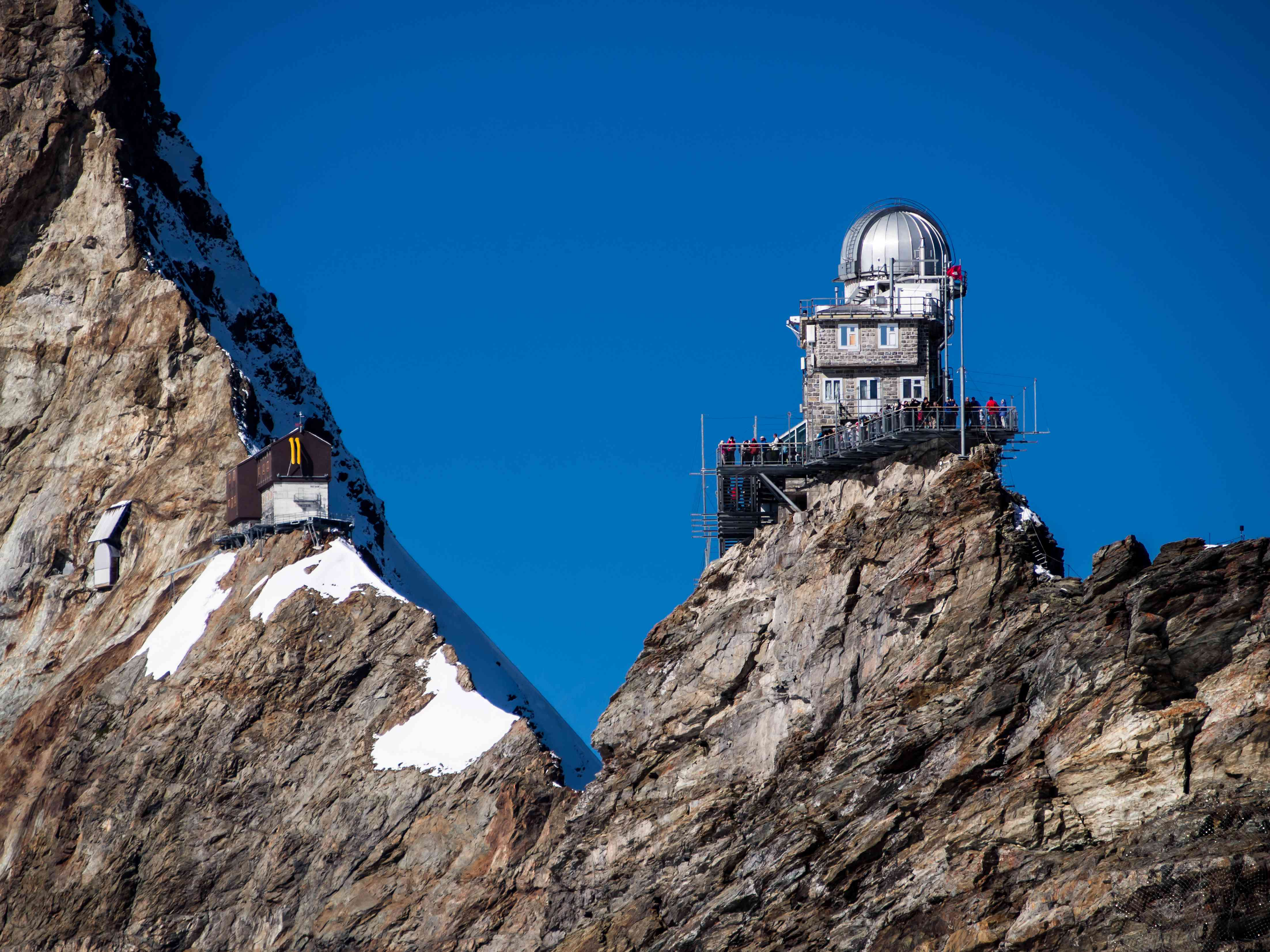 Sphinx Observatory on the steep slopes of the Swiss Alps.