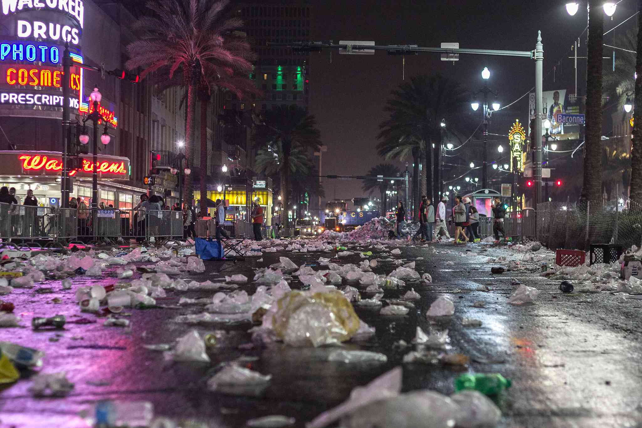 Iconic Canal Street in New Orleans is covered with trash after Mardi Gras 2015.