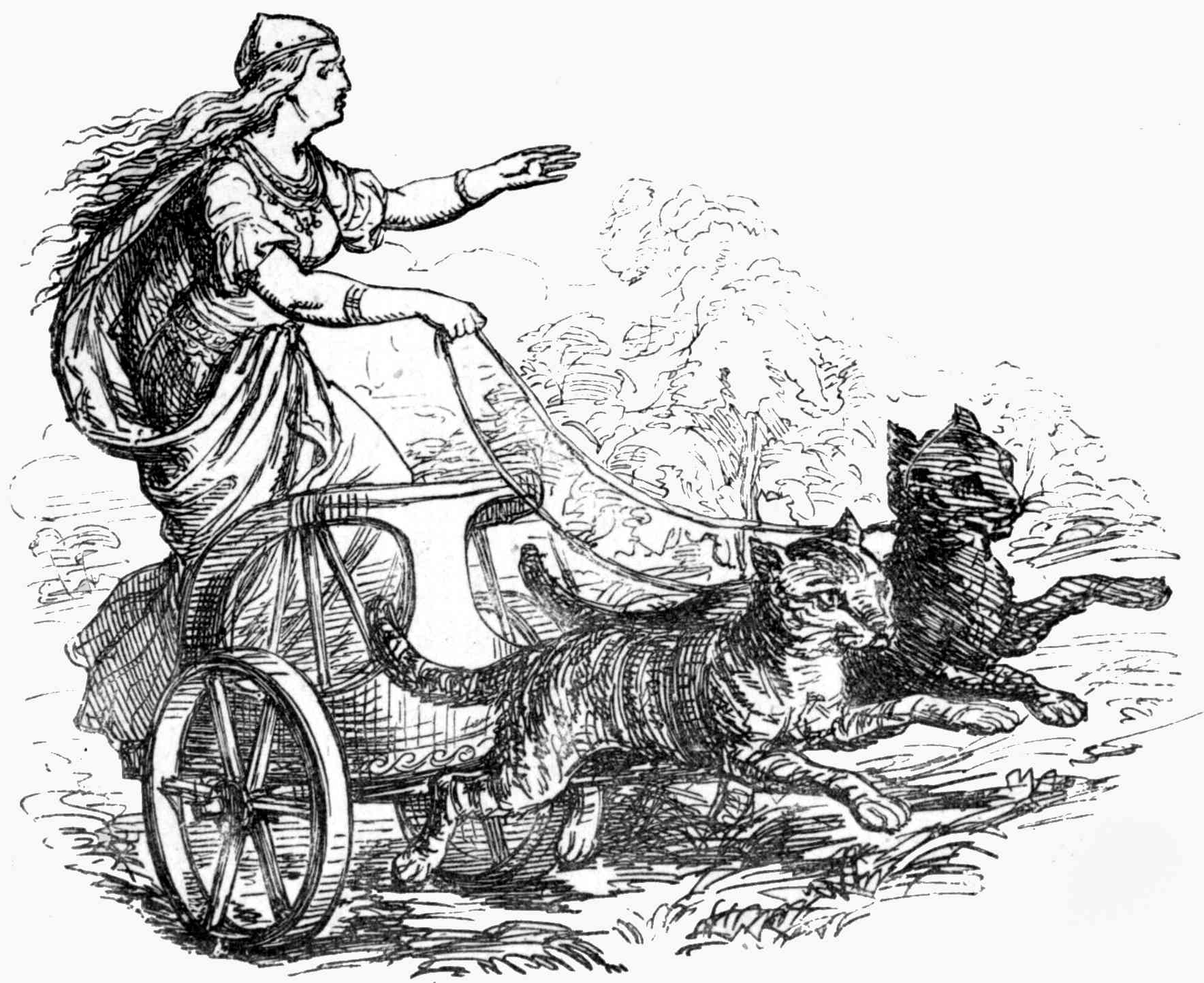 Freyja with carriage pulled by cats