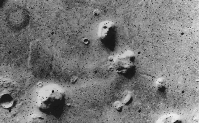 Gray images of face on Mars photographed by Viking 1 from space