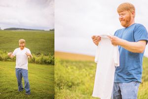 A farmer in the field with homegrown t-shirt