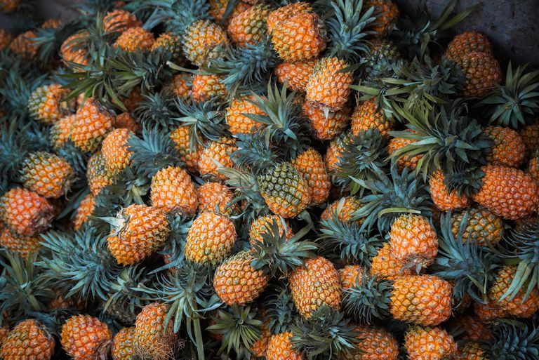 Aerial view of a pile of pineapples