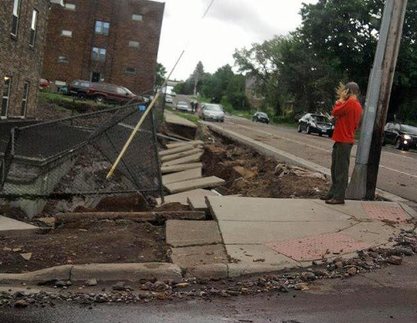 Duluth flooding collapse at 10th Ave E and 2nd Str