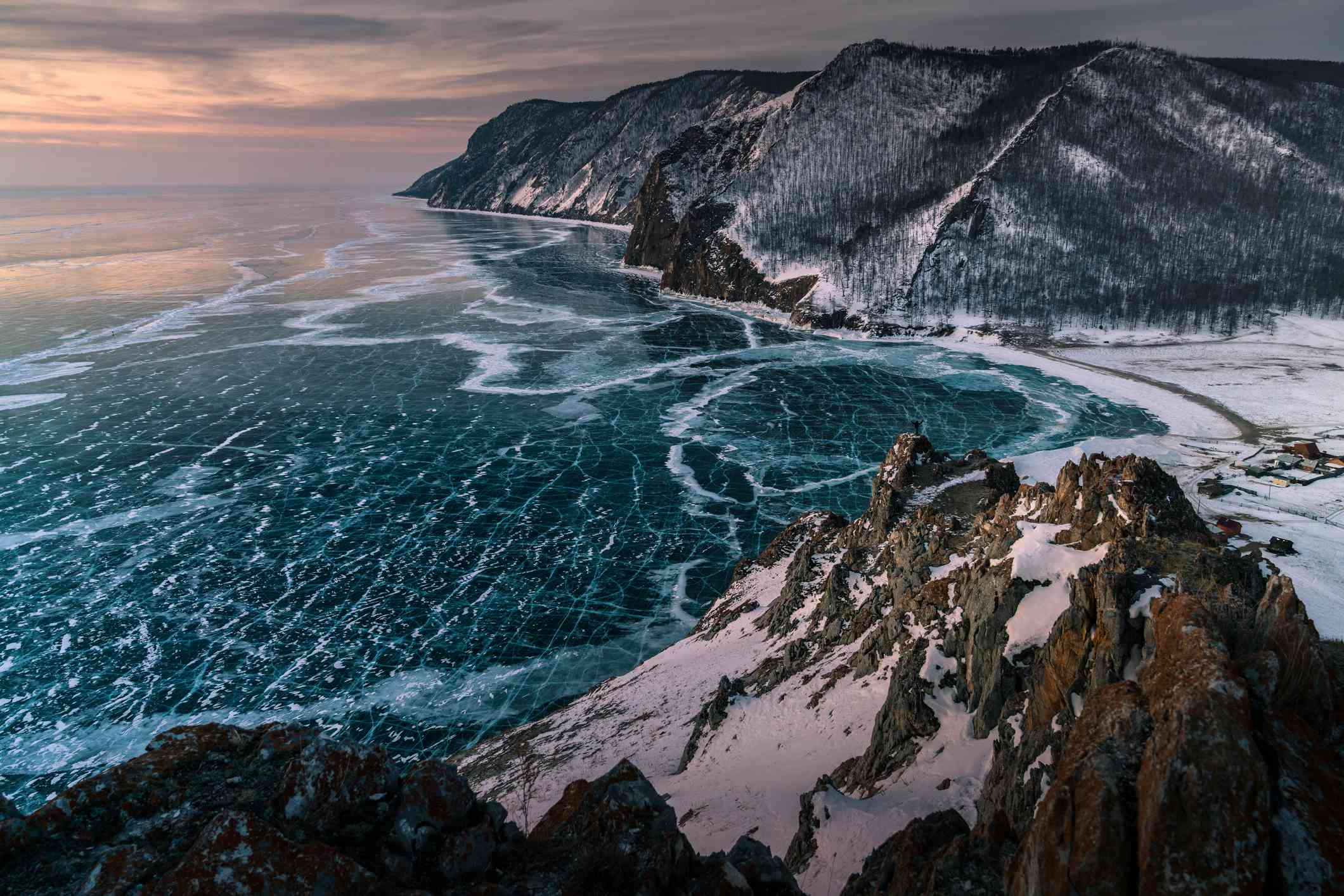 An aerial view of one of Lake Baikal's shores.