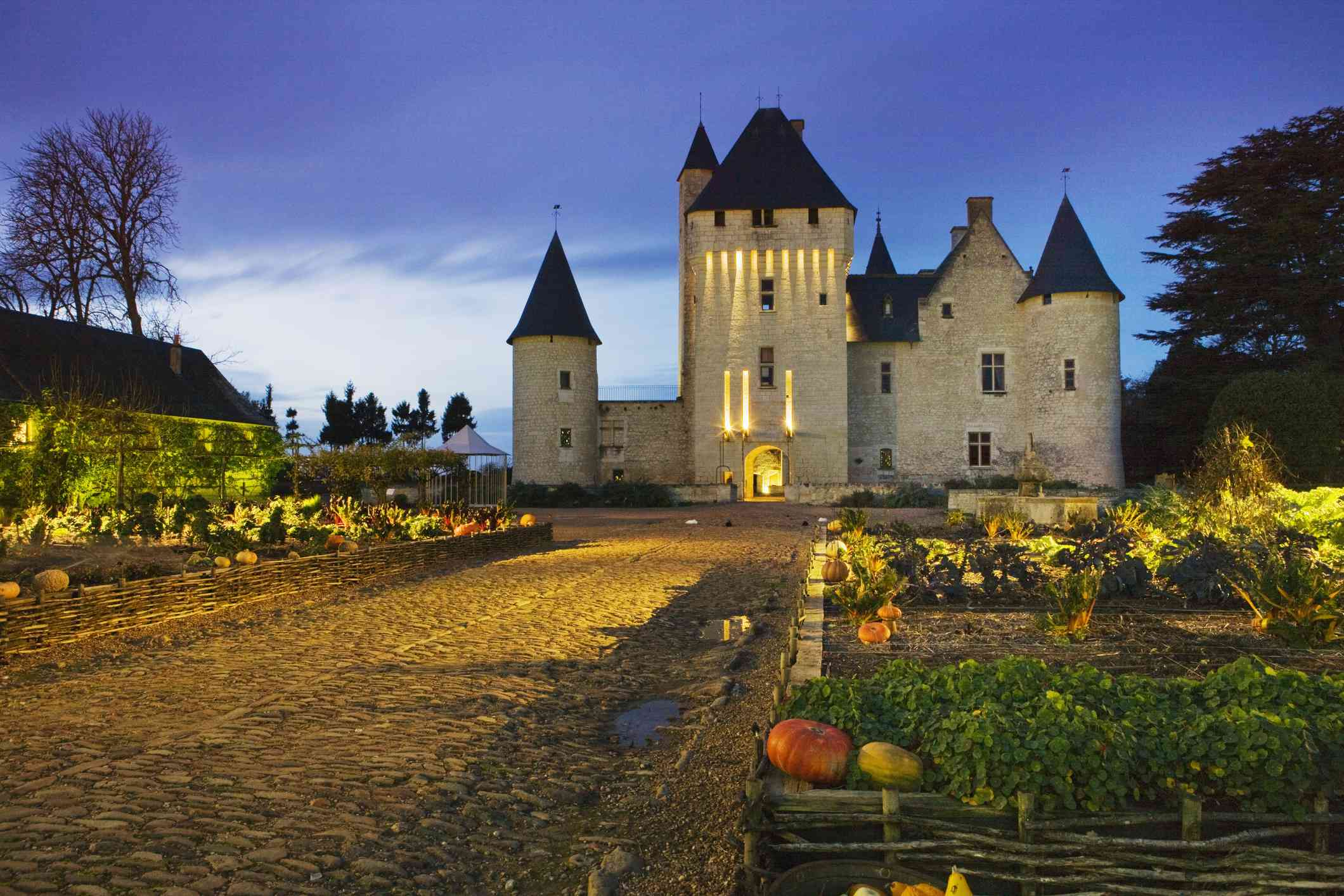 Chateau Du Rivau lit up at night in Loire Valley, France