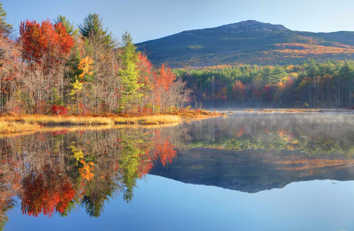 Mount Monadnock reflects in a tree-lined pond in autumn
