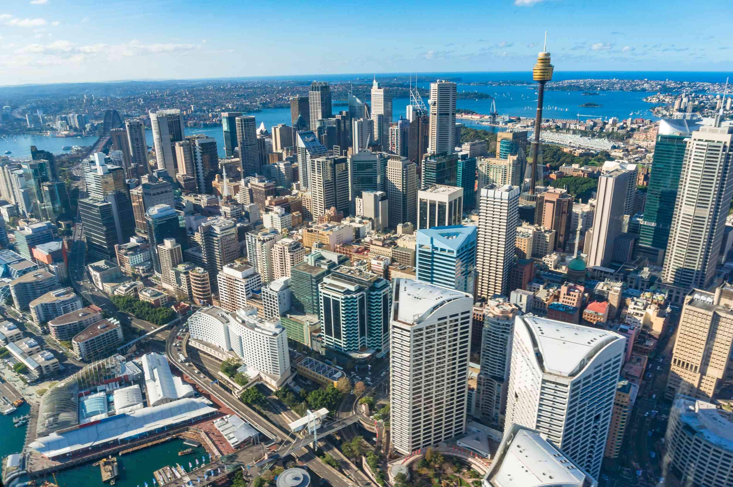 High Angle View Of Modern Buildings In Sydney