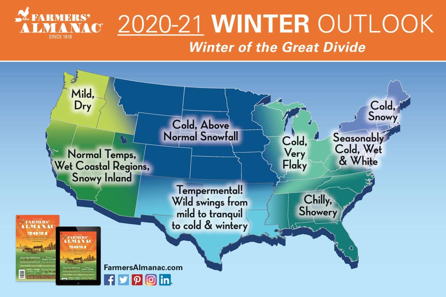 Farmers' Almanac winter map