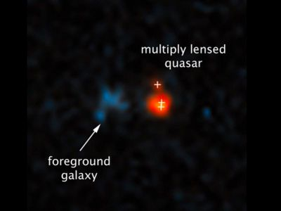 The quasar shown in this image, captured by the Hubble Space Telescope, lies at a distance more than 12.8 billion light years from Earth. It's only possible to see thanks to a gravitational lens effect produced by the dim galaxy to the left.