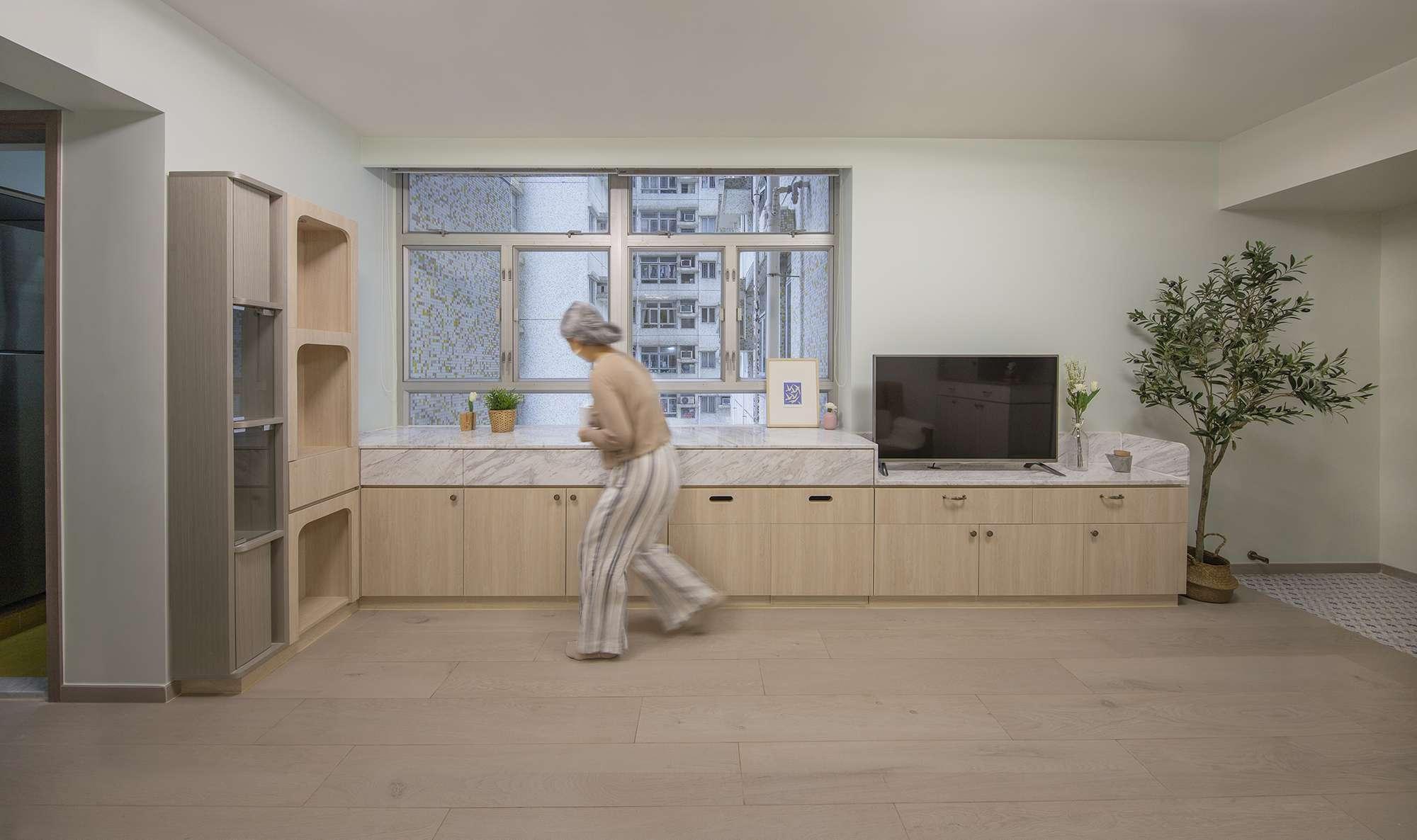 Floral Aged House apartment renovation by Sim-Plex Design Studio counter