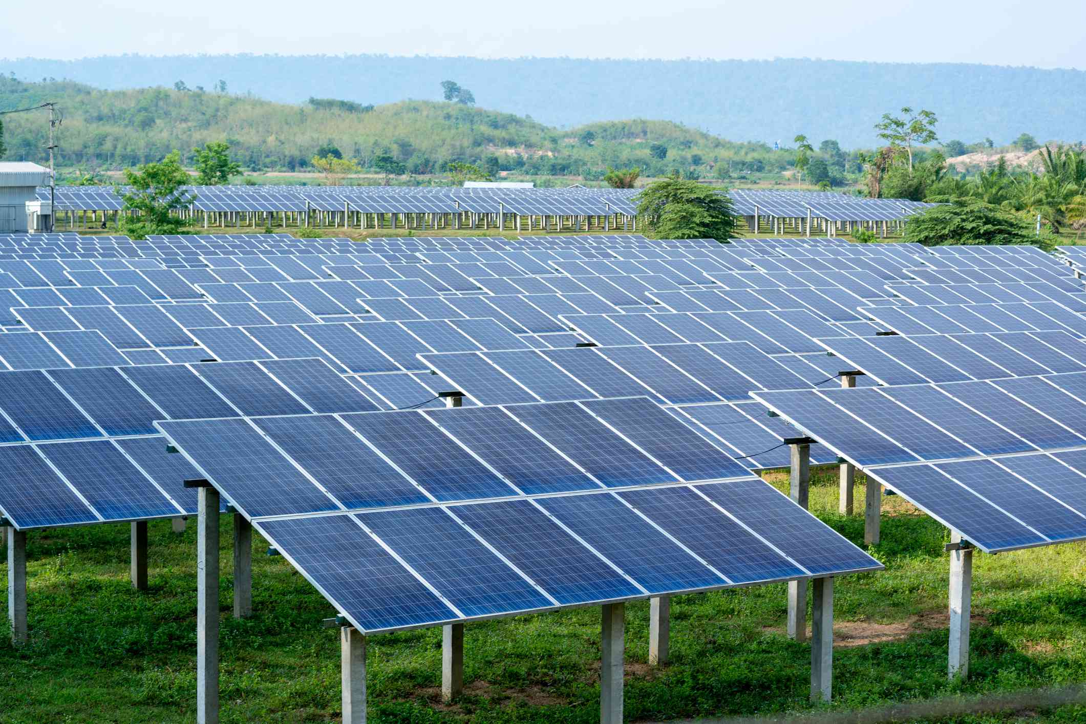 Solar panel station in the field of a country side.