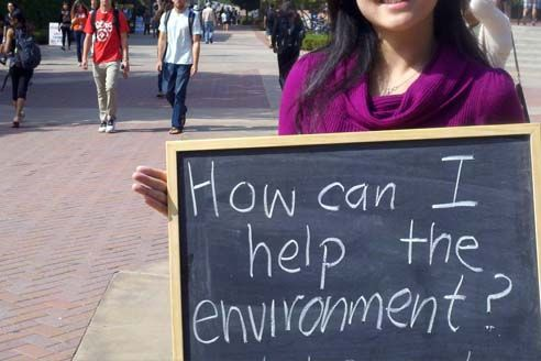 student at UCLA Sustainability Fair