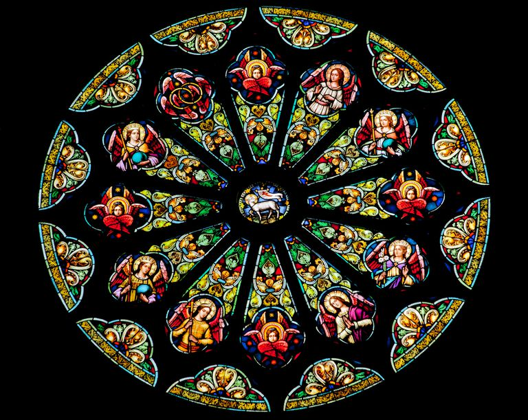 A vibrant stained glass window