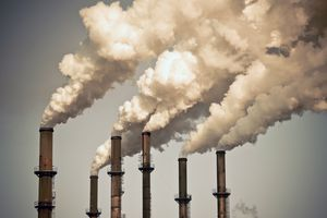 Industrial smokestacks.
