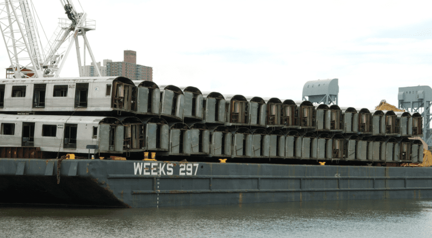 Old NY subway cars being used as artificial reef material