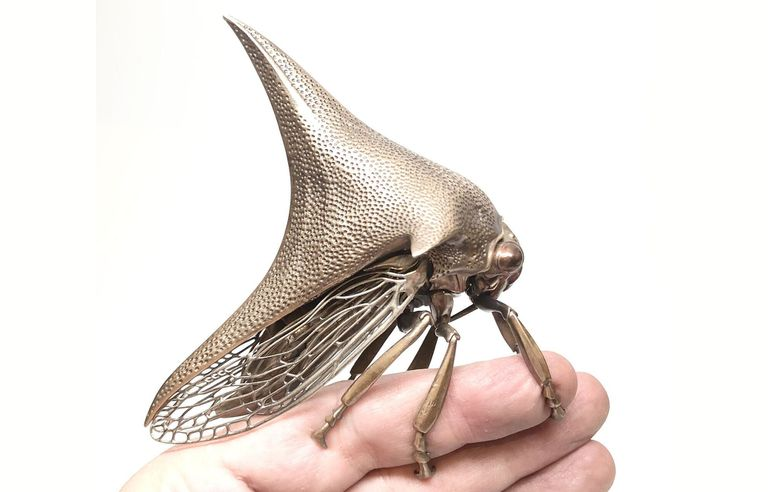 cast metal sculptures of insects and cells by Dr. Allan Drummond