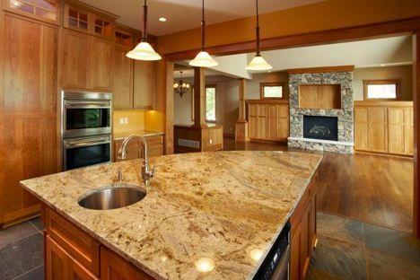 big granite kitchen island photo