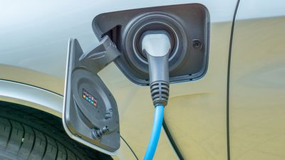 Close up of Hybrid electric car charging