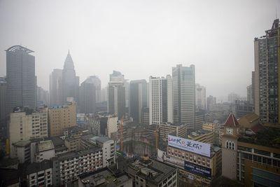polluted skies in Shanghai