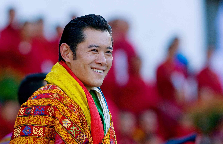 His Majesty Jigme Khesar Namgyel Wangchuck smiles during his coronation