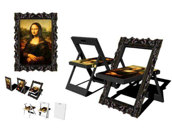 Kwang Hoo Lee's convertible Mona Lisa chairs converted to a painting