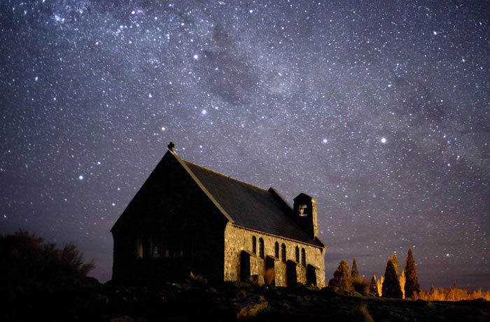 The Church of the Good Shepherd at Aoraki Mackenzie International Dark Sky Reserve in New Zealand