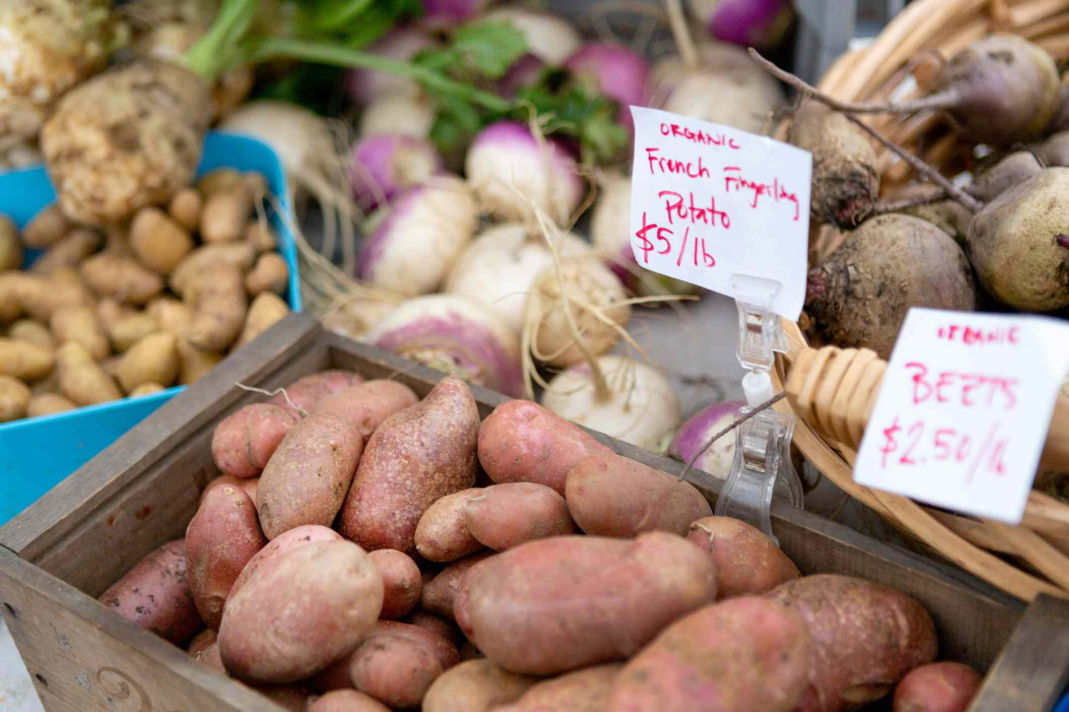 potatoes and beets for sale at farmers market