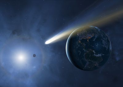 An illustration of an asteroid passing close to Earth