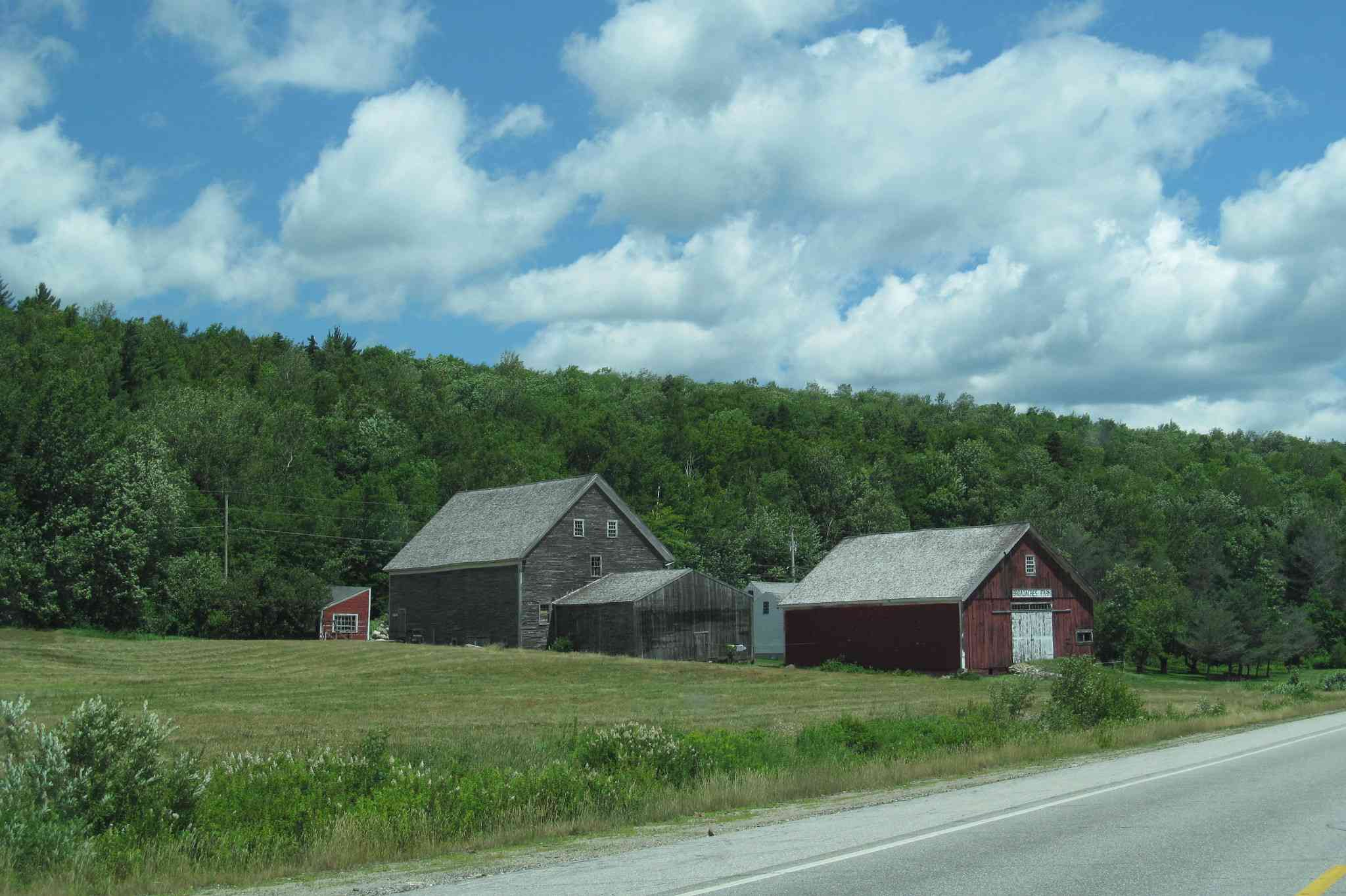 Barns on the side of U.S. Route 2, New Hampshire