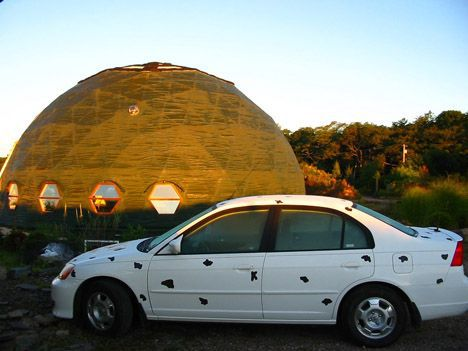 Car parked next to the dome
