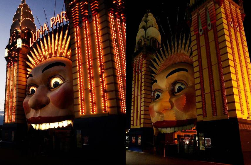 In this composite image, the entrance to Luna Park Sydney is seen before and after the lights are switched off for Earth Hour on March 31 in Sydney, Australia.