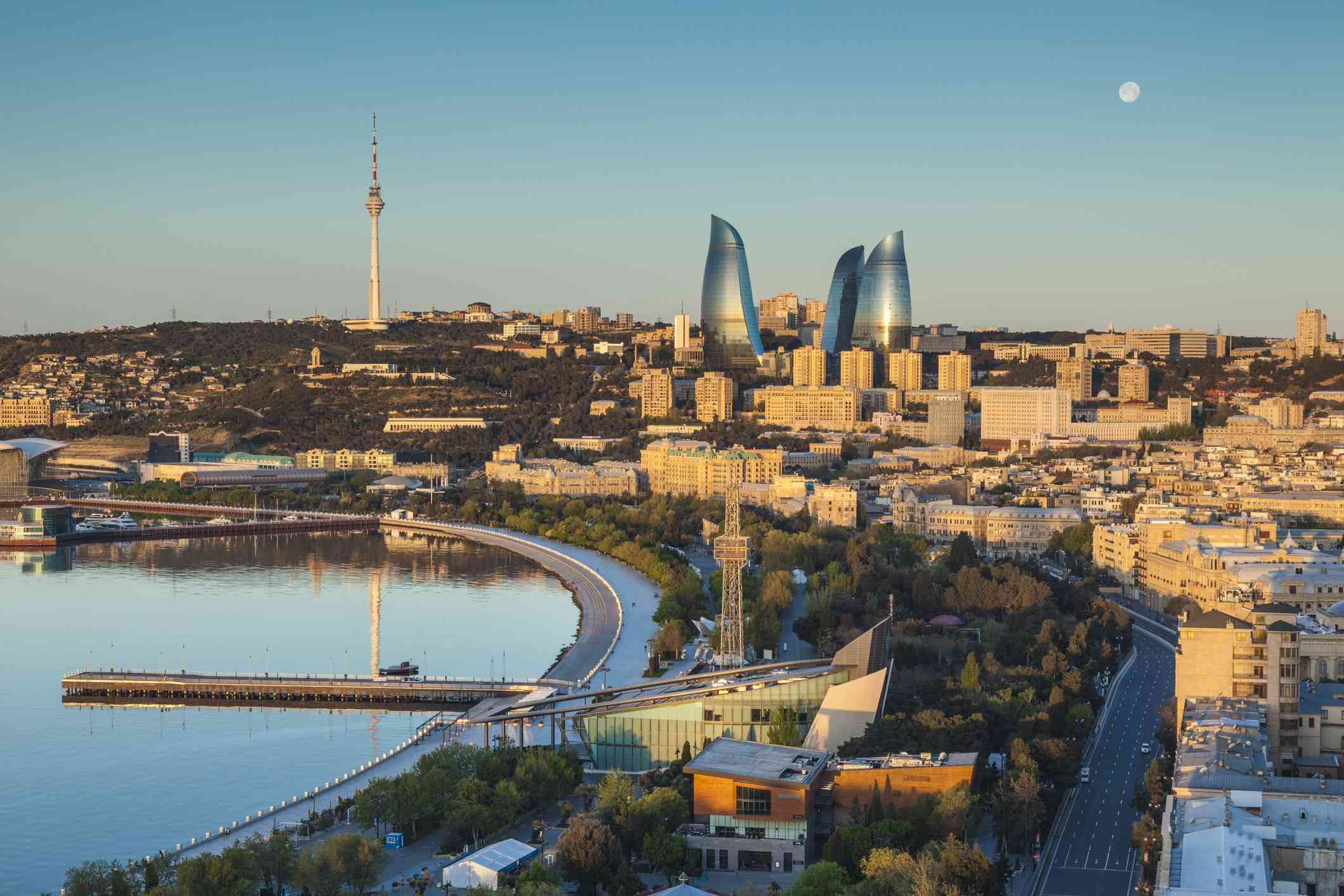 Azerbaijan, Baku, high angle city skyline