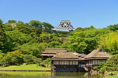 The design of Genkyū Garden emphasizes the presence of Hikone Castle, making the most of this 'borrowed scenery' in the background.