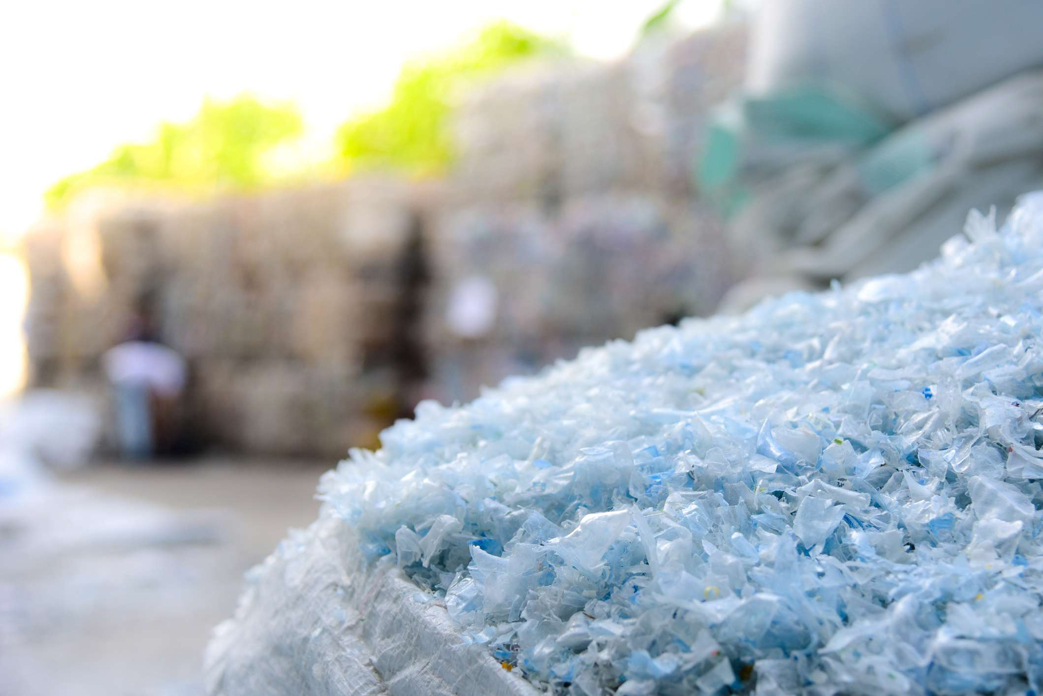 Small pieces of plastic at recycling plant.