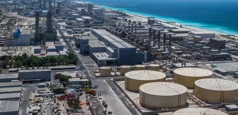 A modern desalination plant on the shores of the Arabian Gulf in Dubai.