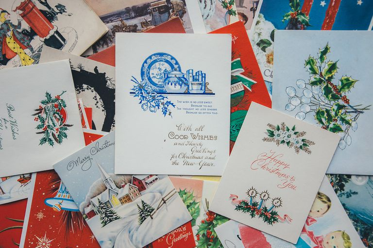 Pile of different kinds of holiday cards