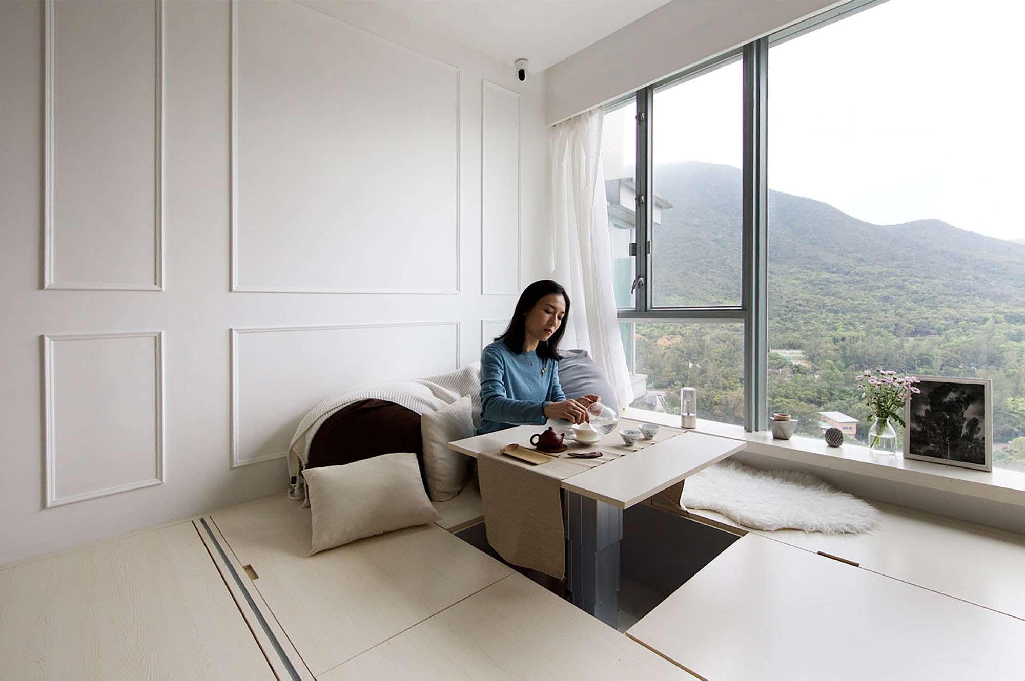 Smart Zendo micro-apartment by Sim-Plex Design Studio living room