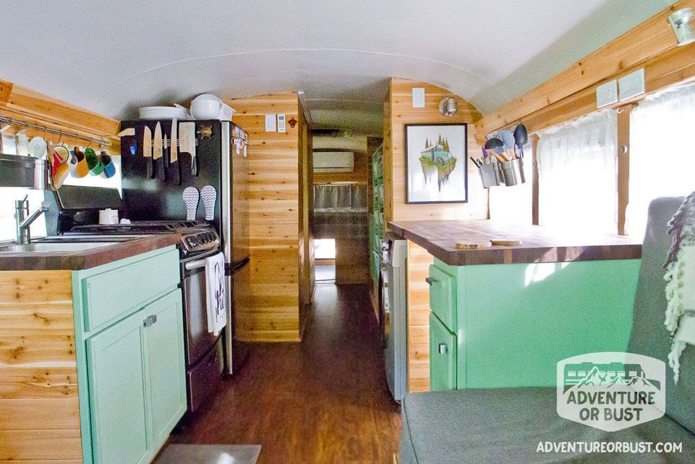 Kitchen of a school bus turned into a tiny house