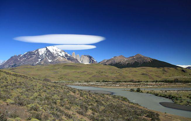 Cirrocumulus lenticularis clouds over Torres del Paine National Park