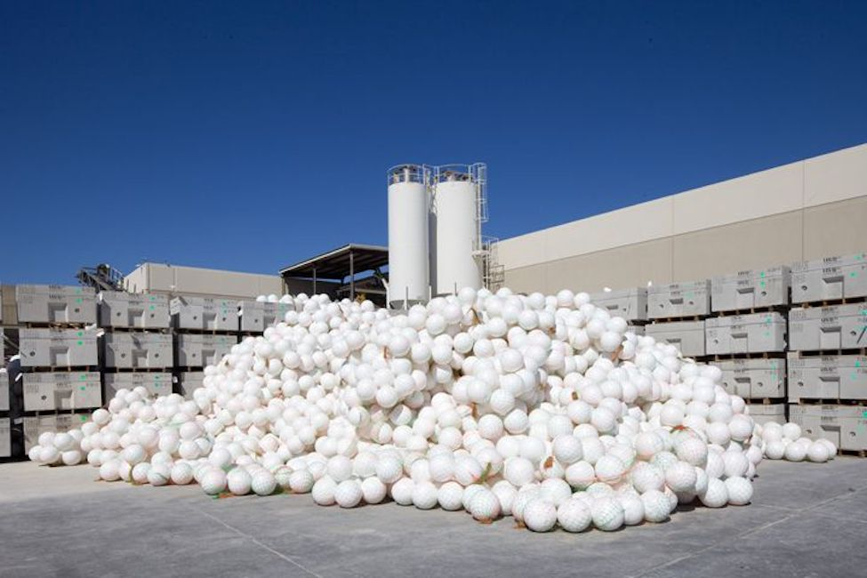 Individual Bubbledeck white balls in a pile