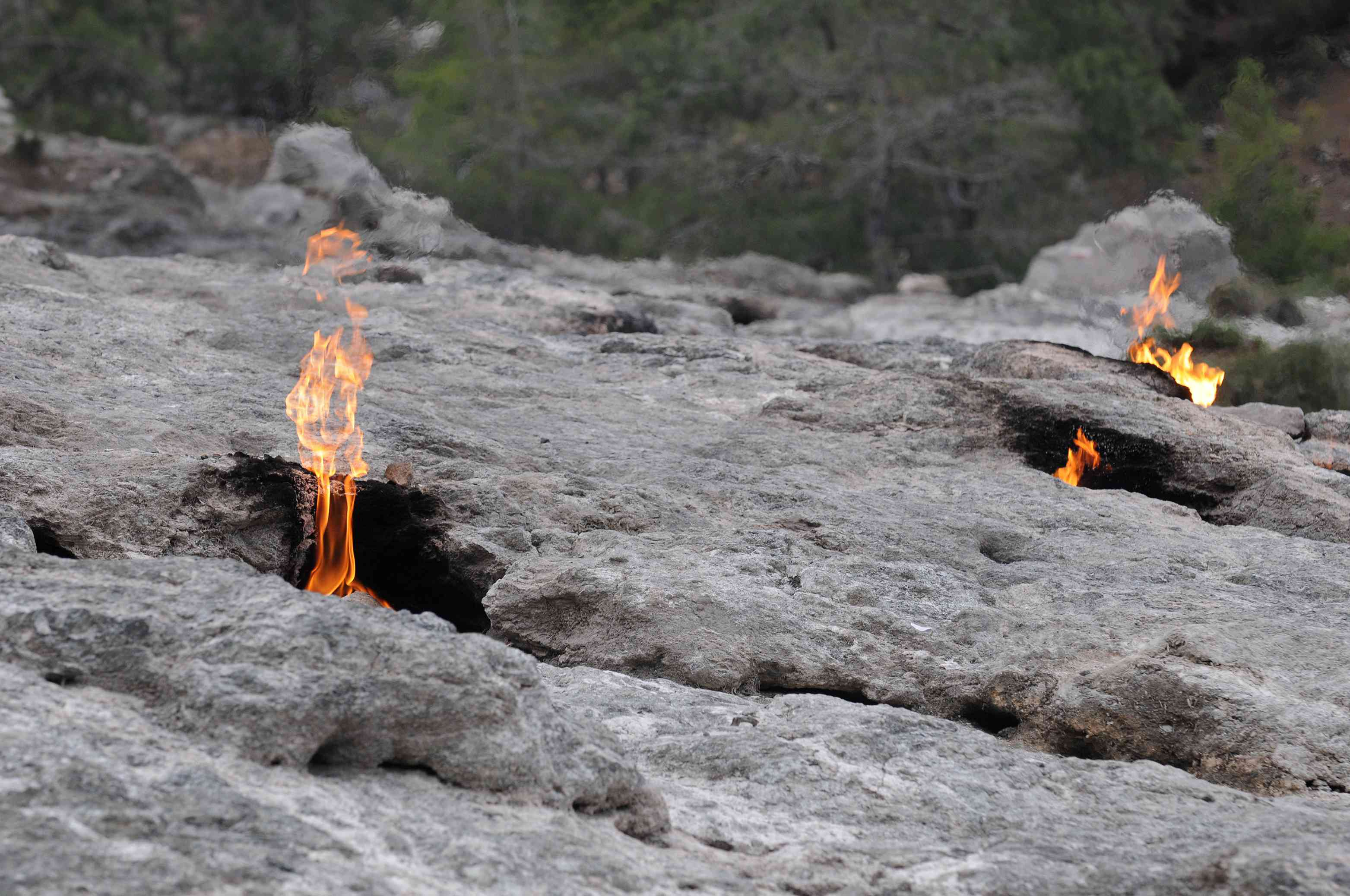 Eternal fires coming out of rock on Mount Chimera